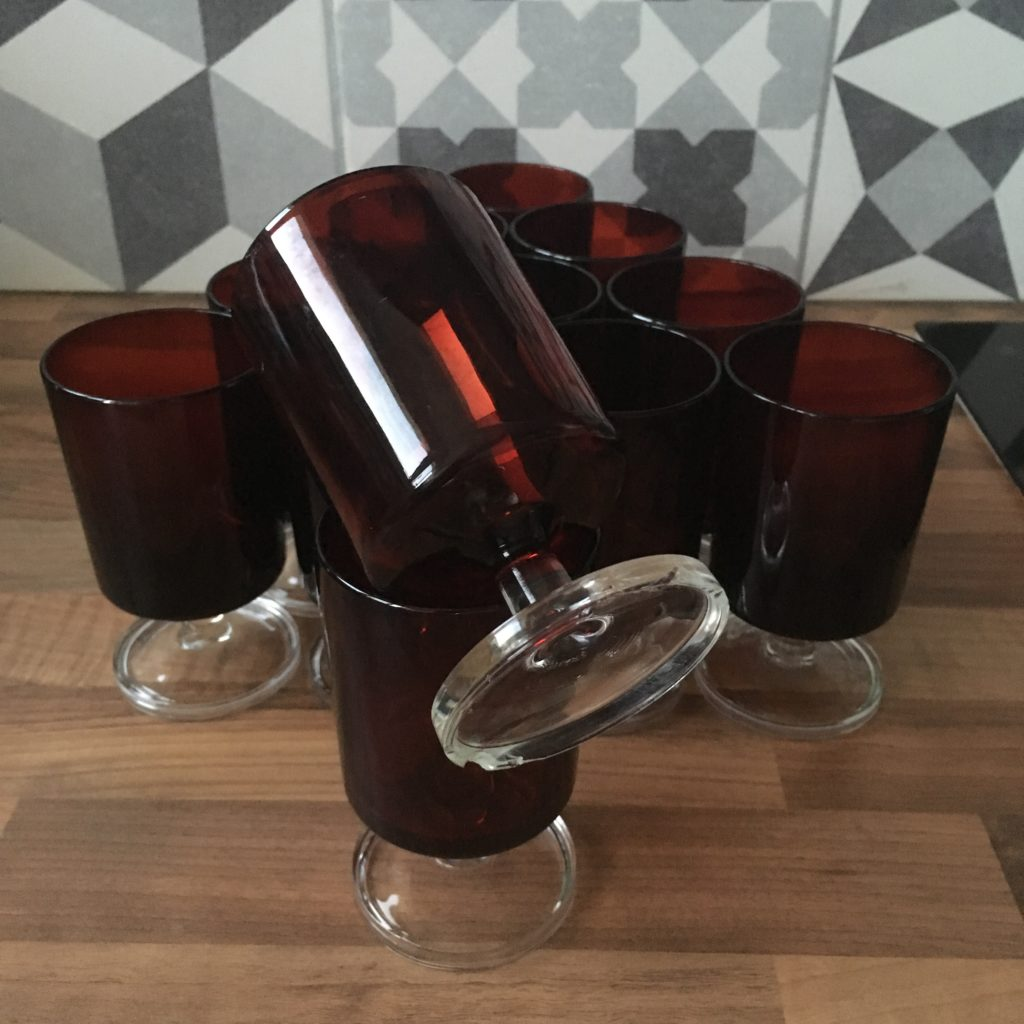 Service verres luminarc rouge vintage gironde