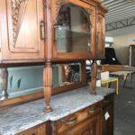 frand buffet en 2 parties bois travaillé et marbre dordogne