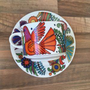 tasse à chocolat et sa soucoupe Acapulco Villeroy et Boch oiseau orange motif mexicain
