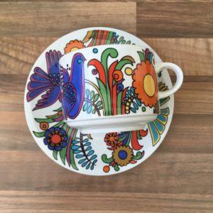 Tasse à chocolat acapulco oiseau bleu mexicain et grosse fleur