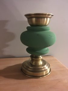 pied de lampe vintage transformé en bougeoir