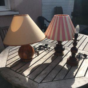trio de lampe vintage chiné à la recyclerie de Bazas en Sud Gironde