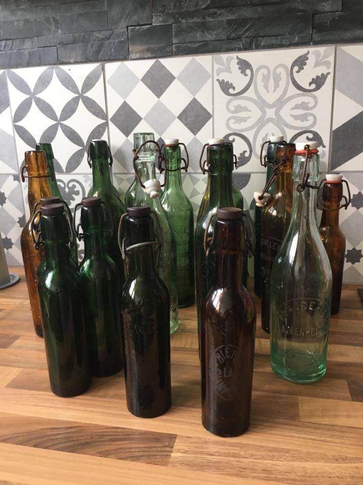 Bouteille biere brasserie vintage vert ou ambre