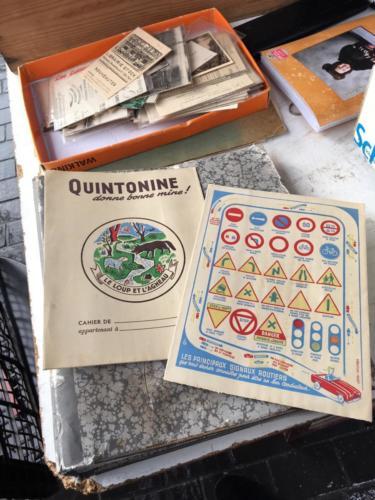 couverture vintage cahier ecole panneau signalisation